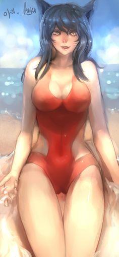 [LOL] Swimsuit Ahri by Seuyan on DeviantArt