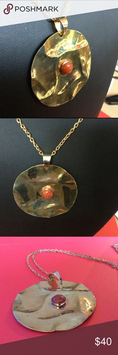 """Handmade Brass & Spiny Oyster Necklace A-4-14 Exquisite handmade hammer formed 2"""" Brass dick with a 10mm Spiny Oyster Shell Cabochon set in a copper bezel. One of a kind. Cannot be duplicated. Handmade By HM Simon Jewelry Necklaces"""