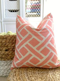 Coral and WhiteTrellis Pillow Cover - Designer Pillow Cover - 18 x 18 - Throw Pillow on Etsy, $36.00