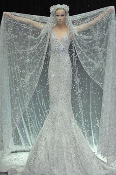 Palest blue and silver Wedding dress. Silver and pale blue wedding dress