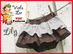 Lily... Baby Girl Ruffled Skirt Pattern, Bloomer Sewing Pattern, Ruffled Bloomer Pattern ....PDF Sewing Pattern,  Infants Pattern. $6.00, via Etsy.