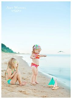 my girls will be the cutest children on the beach. love these little boats and the bikinis and outfits. this is so adorable !