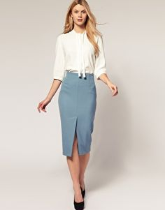 Unconventional high-waisted skirt. Slit is at the front! I like it.