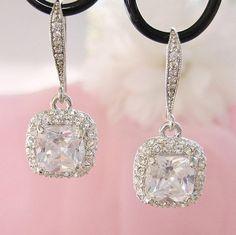 Gorgeous Cushion Cut Bridal Earrings Wedding by CherryHillsBridal