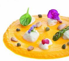 Crema di carote e zenzero con maionese e mandorle Ricetta di Simone Salvini