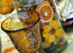 beautiful amber etched glass