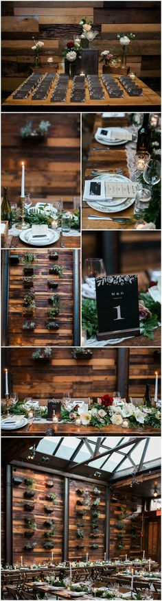 Brooklyn Winery, wedding reception, industrial meeds natural, succulent wall, chalkboard paper, candlelight, greenery, burgundy flowers // Tim Ryan Smith Photography