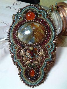 Bead EmbroideryAgate Stone Cabachon Center par KiowaRoseBeads, $135.00