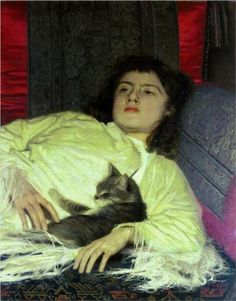 Girl with a Cat - 1837-87,Ivan Nikolaevich Kramskoi was a Russian painter and art critic. He was an intellectual leader of the Russian democratic art movement in 1860-1880.