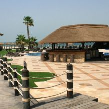 Al Maya Island Thatched Restaurant and Poolbar with Timber Decking Timber Deck, The Perfect Getaway, Island Resort, Decking, Abu Dhabi, Maya, Beds, Pergola, Outdoor Structures