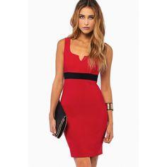 Tobi Elaina Bodycon Dress ($20) ❤ liked on Polyvore featuring dresses, tobi dresses, bodycon dress, red body con dress, body conscious dress and body con dress