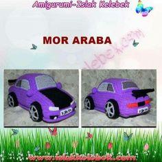 Amigurumi Mor Araba Tarifi Amigurumi For Beginners, Amigurumi Doll, Free Pattern, Bunny, Dolls, Cats, Crochet, Animals, Automobile