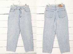 1980's Vintage Light Blue High Waist Washed Jeans by CoverVintage, $29.00