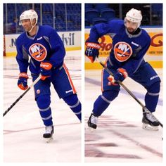 New #Isles defensemen Johnny Boychuk (Left) and Nick Leddy (Right) skated with the team for the first time today at Nassau Veterans Memorial Coliseum.