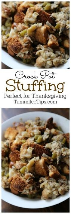 Easy and Delicious Slow Cooker Crock Pot Thanksgiving Stuffing Recipe, great comfort food and it makes your meal planning so easy #Thanksgiving #Stuffing #recipe #holiday #crockpot #slowcooker #christmas