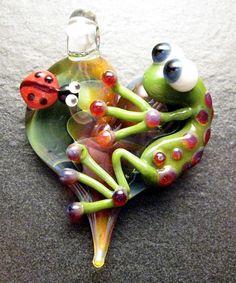 Ladybug Frog pendant  glass heart lampwork jewelry door Boomwire