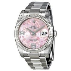 $6,437.00 Rolex Datejust Automatic Pink Floral 18 kt White Gold Ladies Watch