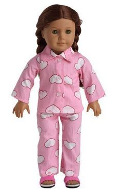 Dolls - Doll Clothes 2pc Pink Sleepwear Pajamas Fits 18 Inches American Girl Dolls by sweet dolly *** Details can be found by clicking on the image.