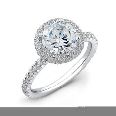 Ladies Platinum french pave diamond halo engagement ring 0.33 ctw with 1.50ct natural Round white sapphire on Etsy, $1,760.00