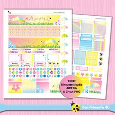 April Monthly Planner Stickers Kit, Erin Condren Monthly Planner Stickers, Easter Planner kit, Printable Planner Stickers Cut file ST-305 by BestPrintables4U on Etsy