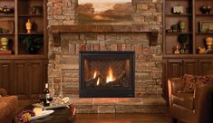 Scorpio   Warm up the room with a Scorpio™ series direct-vent gas fireplace with traditional Oak logs and a standard heat circulating blower.