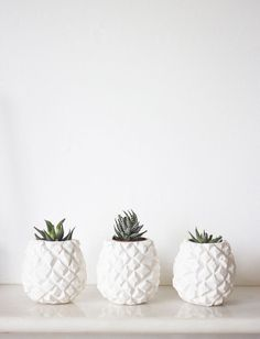 Pretty little white pineapple planters. The cutest decor for your nightstand.