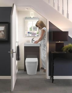 Bathroom Under Stairs Inside House Stuff Pinterest Basements Toilet And House