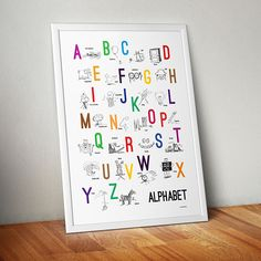Alphabet poster with sketches