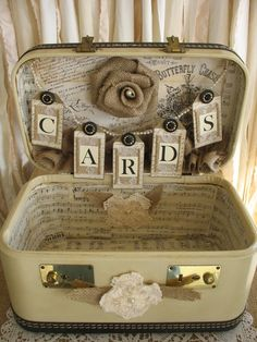 Suitcase card box for wedding vintage suitcase wedding card holder shabby chic wedding rustic country wedding . Bodas Shabby Chic, Shabby Chic Wedding Decor, Rustic Wedding, 20s Wedding, Wedding Country, Vintage Suitcase Wedding, Vintage Suitcases, Vintage Luggage, Shabby Vintage
