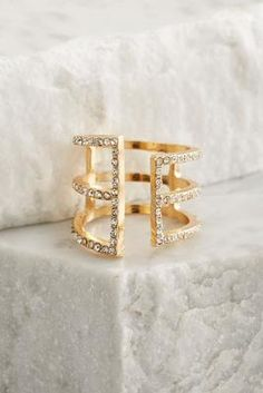 Versona open center pave bar ring #Versona