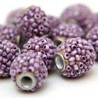 Kashmir Indian Beads Purple Seed bead Encrusted Round Six Beads Set