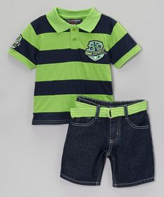 Take a look at the Green Polo & Belted Shorts - Infant, Toddler & Boys on #zulily today!