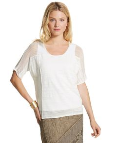 Chico's Women's Lissette Pullover Top, Callalily White, Size: