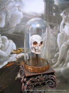 Skull under glass dollhouse miniature