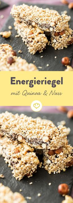 Nüsse satt: Quinoa-Haselnuss-Riegel Energy bar with crunchy effect: packed with hazelnuts, cashews, puffed spelled and quinoa pops, it becomes a sweet snack in the mouth. Healthy Fruits, Healthy Foods To Eat, Healthy Snacks, Healthy Recipes, Energy Bars, Low Calorie Recipes, Relleno, Sweet Recipes, Clean Eating