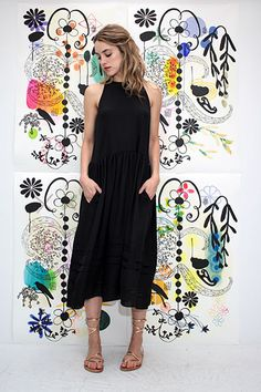 Lexi in Gary Graham dress with KJacques sandals and Renne Sheppard earrings | Shopheist.com