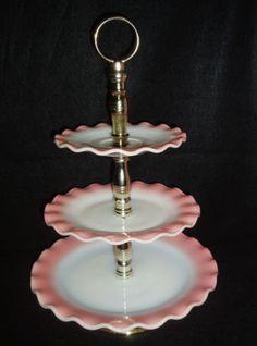 Hazel Atlas pink ruffle 3 tiered serving tray