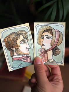 Jane Eyre - Charlotte Bronte - Jane Eyre and Mr Rochester portrait - Watercolour and coffe - 2 ACEO OOAK original artwork Quotes For Book Lovers, Book Quotes, Jane Eyre Book, Portrait Watercolour, Charlotte Bronte Jane Eyre, Bronte Sisters, Mini Canvas Art, Pin Pin, Book Worms