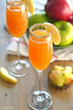 You'll never want to drink apple cider alone again after discovering how tasty it is combined with bubbly champagne in these apple cider mimosas.