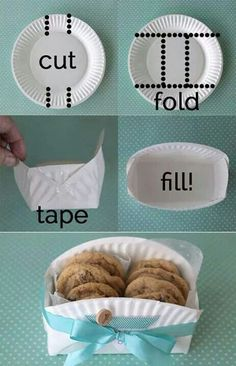 DIY cookie basket made from a paper plate - Clever home-made gift basket for baked goodies! -easy DIY cookie basket made from a paper plate - Clever home-made gift basket for baked goodies! Cookie Baskets, Food Baskets, Cheap Baskets, Easter Baskets, Baking Gift Baskets, Teen Gift Baskets, Egg Basket, Moses Basket, Paper Plates