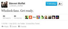 CAN IT BE?!? LOL, nope, just another sadistic April Fool's joke from none other than the King of Trolls, Steven Moffat.