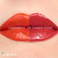 Compare Habanero vs. Candy Cane LipSense using this photo. Habanero is part of the Fiesta LipSense Collection by SeneGence.