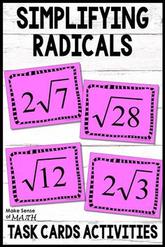 Engaging and fun way to practice simplifying radicals. These task cards include activities and games which are perfect to help with fluency. These work great for stations, openers, exit slips, games, and more. Fun Math Activities, Math Resources, Math Lesson Plans, Math Lessons, Algebra Games, Math Games, 10th Grade Math, Simplifying Radicals, Square Roots