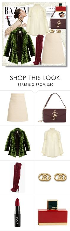 """Untitled #932"" by pesanjsp ❤ liked on Polyvore featuring Gucci, J.W. Anderson, Maison Rabih Kayrouz, Rachel Comey, Boohoo, NYX, Fendi and Chanel"