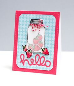 Lawn Fawn - Summertime Charm + coordinating dies, Scripty Hello Lawn Cuts die _ beautiful card by Jean _ StrawberriesHelloJM