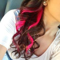 pink highlights underneath in brown hair - Google Search