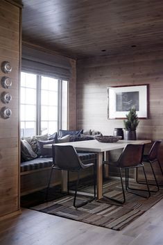Space Interiors, Cabin Interiors, Home Interior Design, Interior Architecture, Building A Cabin, Timber Panelling, Modern Rustic Homes, Cozy Fireplace, Indoor Outdoor Living