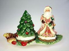CR Santa and Christmas Tree Salt Pepper Shaker Set w Tray Hand Painted Ceramic