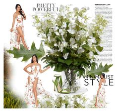 """""""White Floral Print Slit Legs Strapless Jumpsuit"""" by xiebairu ❤ liked on Polyvore featuring New Growth Designs and modern"""
