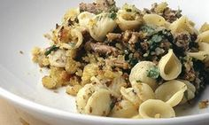 Orecchiette with sardines and breadcrumbs. Nigel Slater (very last recipe in the article) Fish Recipes, Pasta Recipes, Cooking Recipes, Healthy Recipes, Healthy Foods, Seafood Dishes, Fish And Seafood, Pasta Dishes, Nigel Slater